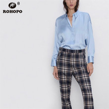 ROHOPO Long Sleeve Solid Stain Blouse Pleated Flared Hem Ladies Silky Bagyy Chi Top Shirt #9458