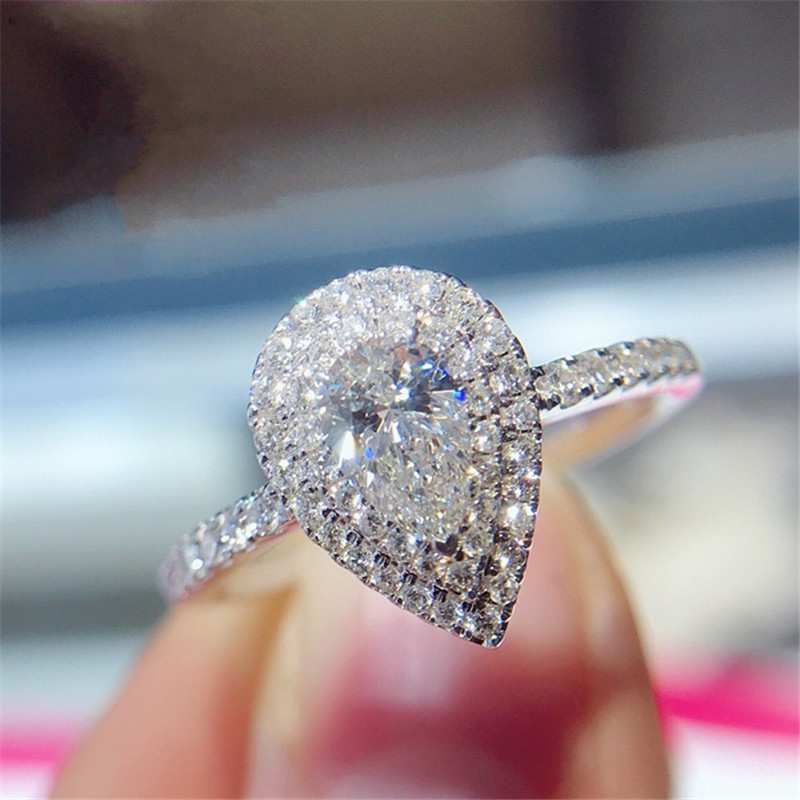 Romantic ring 100% Real 925 Sterling silver Bijou Pear cut AAAAA Cz Stone Party Wedding Band Rings for women Bridal Fine Jewelry