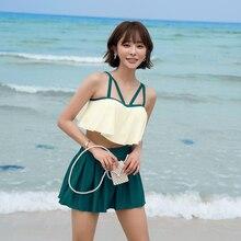 Small bosom steel support gather swimsuit female skirt type separate body drape fairy fan ins wind elegant  thin bathe swimwear