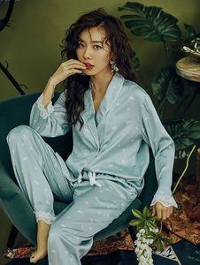 Image 3 - 2020 Sexy Spitze Pyjamas Set Silk Daisy Print Pyjamas für Frauen Pijamas Nachtwäsche Satin Set Nacht Anzug Nachtwäsche Nette Hause kleidung