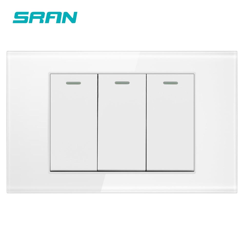 SRAN AU/US стандартный 3-позиционный 2-позиционный клавишный переключатель, 250 В 16А настенный светильник, переключатель для лестницы из закаленн...