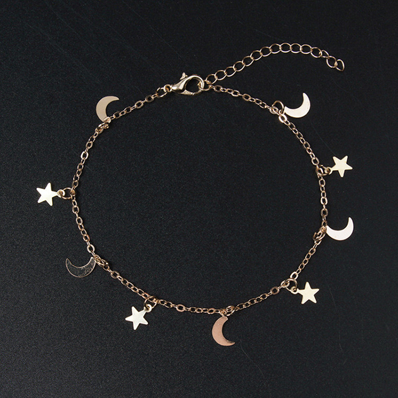 New Fashion Gold Color Moon Star Charms bracelet for Women Accessories Bracelets 4g(China)