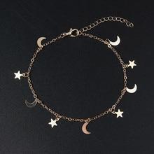 Nowa moda złoty kolor księżyc gwiazda Charms bransoletka dla kobiet akcesoria bransoletki 4g