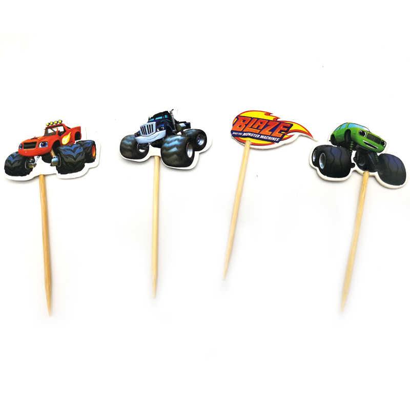 24 Stks/partij Verjaardagsfeestje Decoratie Blaze Monster Machines Thema Cupcake Toppers Met Stokken Baby Shower Jongens Gunsten Cake Topper
