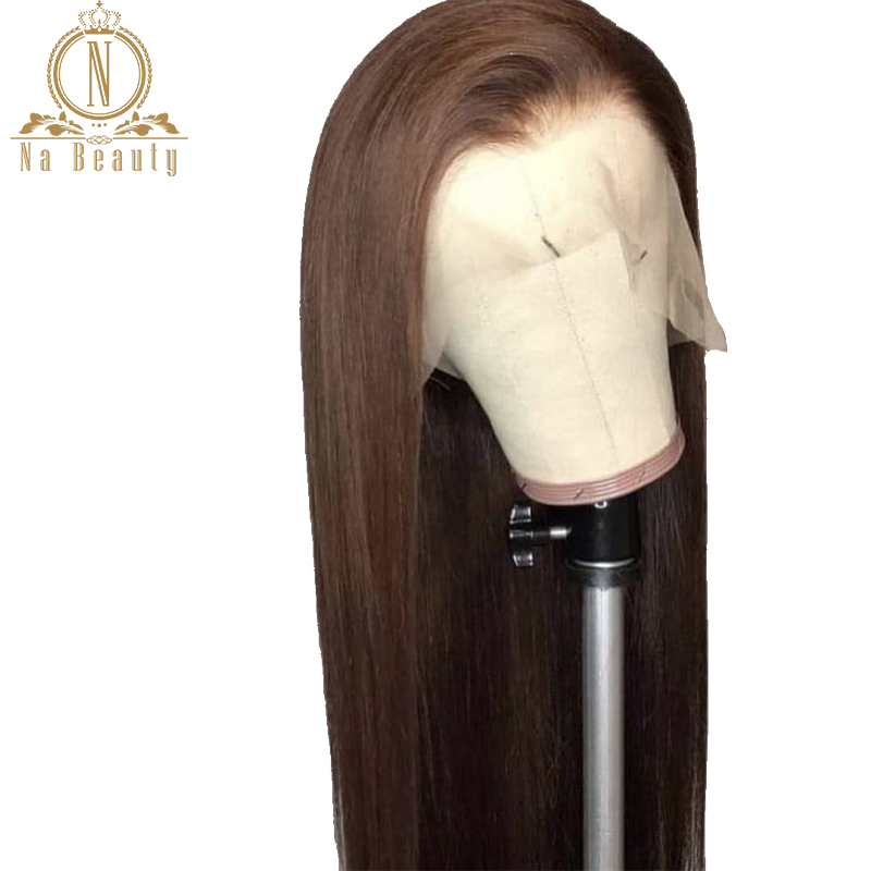 Fake Scalp Invisible Knot 13x6 Lace Front Brown Wig Bleached Knots Pre Plucked Straight Human Hair Front Lace Long Wigs Remy