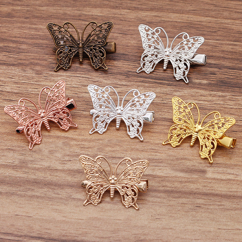 Mibrow 10pcs 36*26mm Rose Gold Silver Color Butterfly Hair Clips Barrettes for Women Wedding Hairpins Jewelry Making Accessories