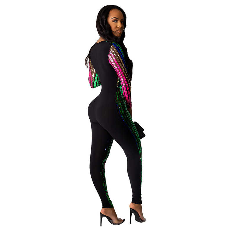 Adogirl женский комбинезон в разноцветную полоску с блестками, сексуальный Облегающий комбинезон с глубоким v-образным вырезом и длинным рукавом, Комбинезоны для ночного клуба