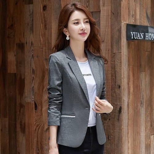 Spring Autumn Women Blazer Korean Style Long Sleeve Casual Short Suit Slim Top Single Button Office Work Wear Ladies Clothes