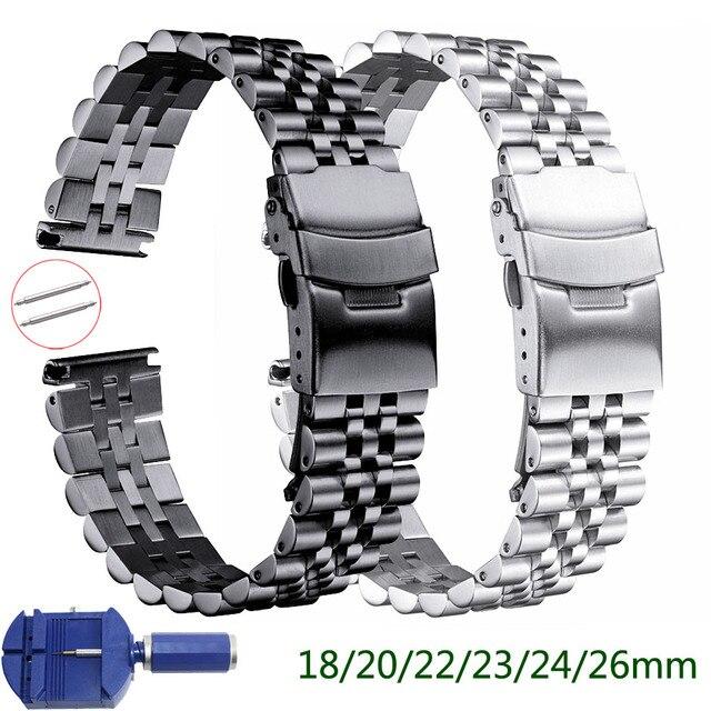 Pulseira de aço inoxidável brilhante de seda 18mm 20mm 22mm 23mm 24mm 26mm pulseira de relógio duplo bloqueio fivela de substituição pulseira de relógio com ferramenta