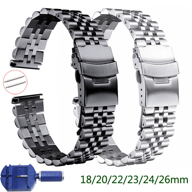 Silk Glossy Stainless Steel watchband 18mm 20mm 22mm 23mm 24mm 26mm Watch Band Double Lock Buckle Replacement Watch Strap w Tool