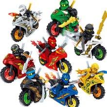 8 Pçs/set Motorfiets Minifiguren Ninja Ninjago ZANE Lloyd Mini Cijfers Blokken Speelgoed Presente Para O Menino