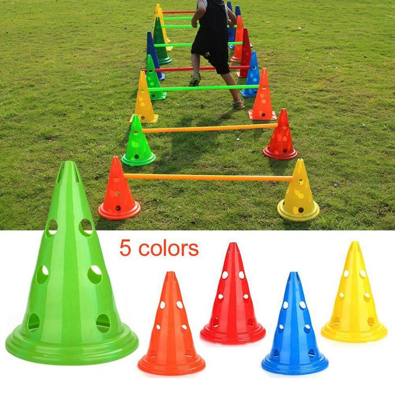 5 Pcs 30cm Round Bottom Mark Barrel Football Training Obstacle Triangle Cone Hurdle Tube Color Sports Training Equipment