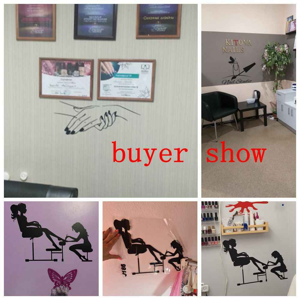 Nail Beauty Salon Wall Sticker For Home Store Decoration Hair Nail Beauty Salon Wall Art Decal Vinyl Waterproof Stickers Wall Stickers Aliexpress