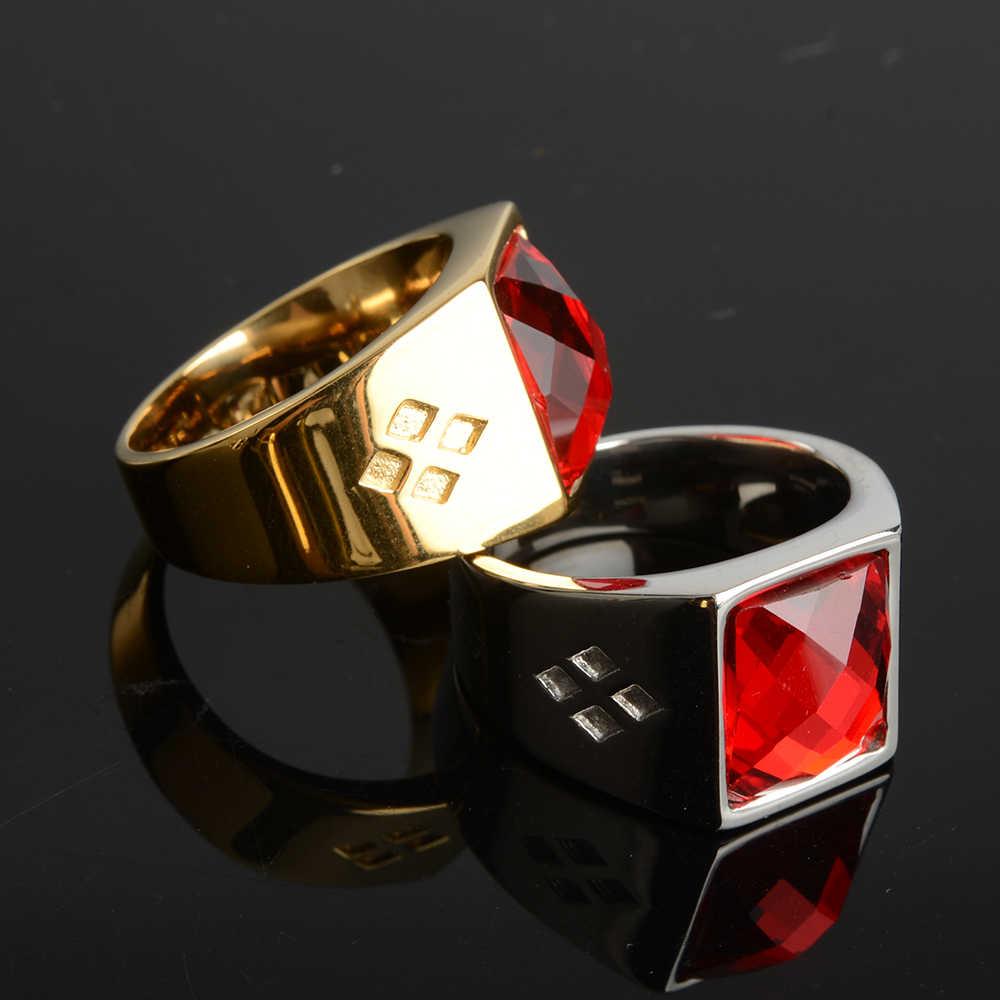 Nouvelle bague en acier inoxydable véritable grande pierre rouge pour hommes femmes dieu du jeu bonne chance chevalière anneaux Anel Anillos Anelli