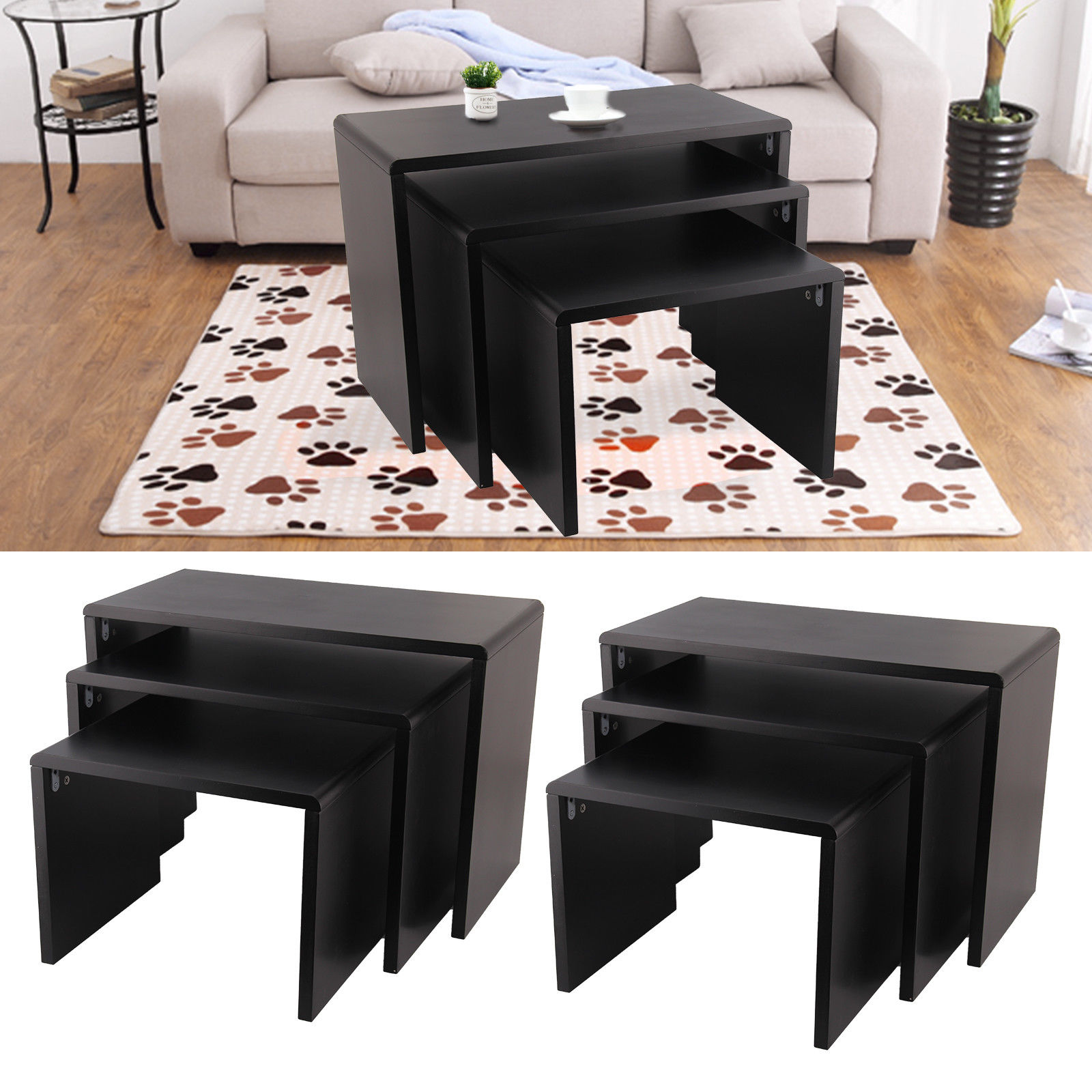 Modern Nest Of 3 Desk Side End Coffee Bar Living Room Furniture Black Simple Small-family Mesas De Centro Log Tea Table