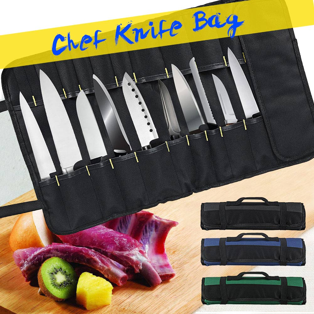Hot Sale 22 Pocket Chef Cutter Roll Bag Portable Carry Case Storage Bag Kitchen Cooking