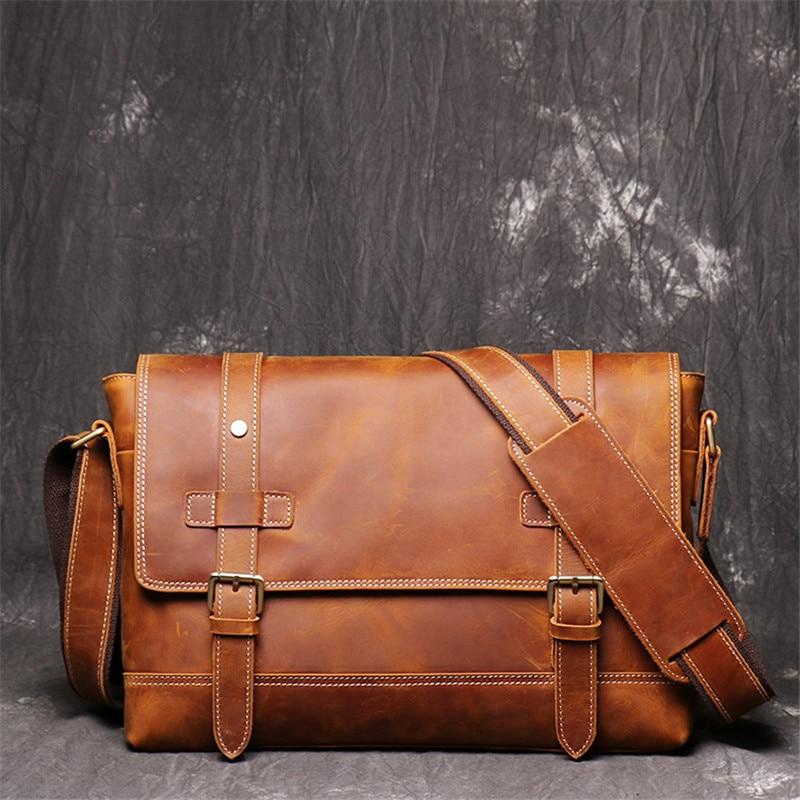 Vintage Messenger Bag Men Genuine Leather Briefcase Office Bags For Men Work Single Shoulder Bag Male Business Crossbody Men Bag