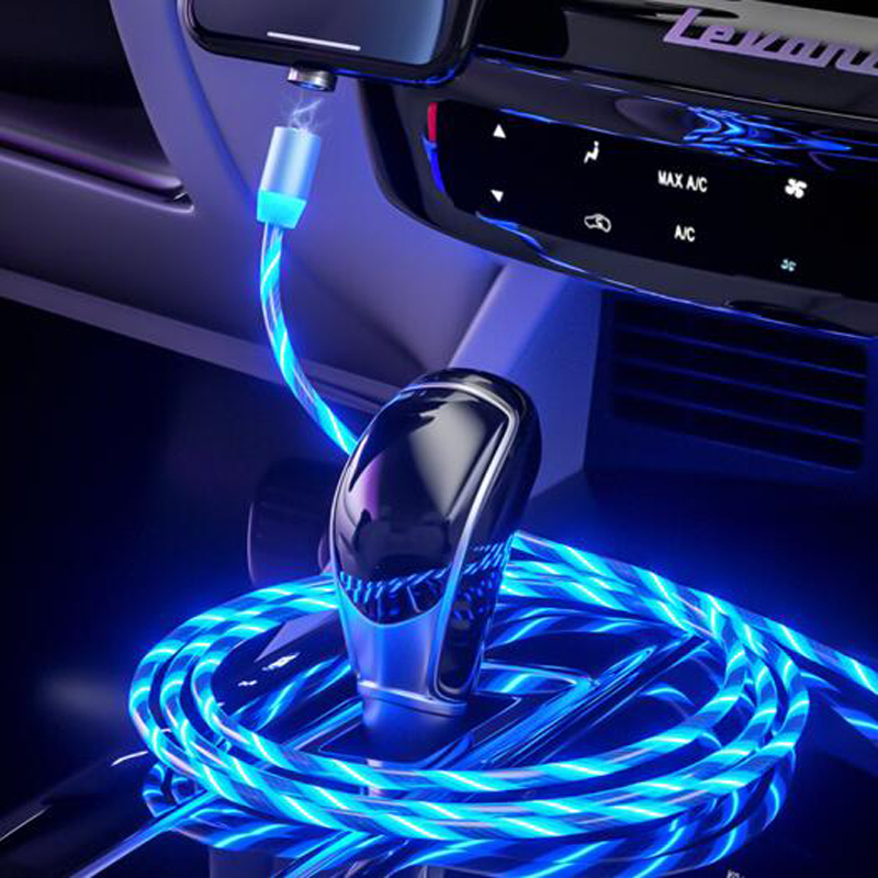 Car LED Glow Flowing magnetic usb cable Charger Charging Cable For <font><b>Audi</b></font> A3 <font><b>A4</b></font> A5 A6 A7 A8 B6 B7 B8 C5 C6 TT Q3 Q5 Q7 S3 S4 image