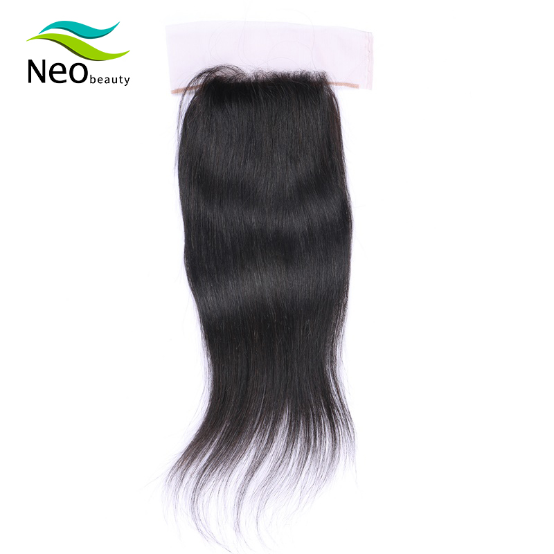 10A 4x4 Pre-plucked Silk Base Silk Straight Brazilian Remy Front Lace Human Hair French Lace Natural Color Can Be Dyed