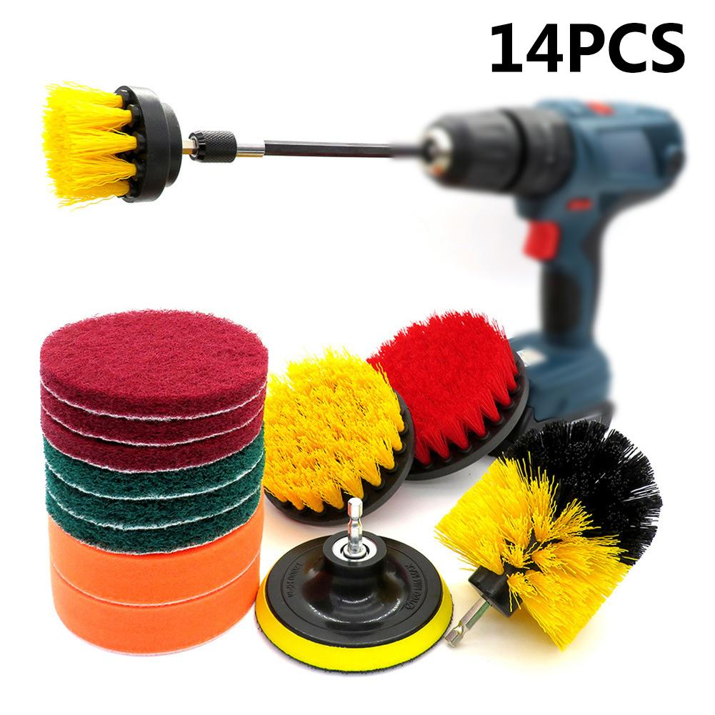 14PCS Red Yellow Electric Nylon Hexagonal Electric Drill Brush Cleaning Brush Scouring Cloth Melon Cloth Polishing Plate in Cleaning Brushes from Home Garden