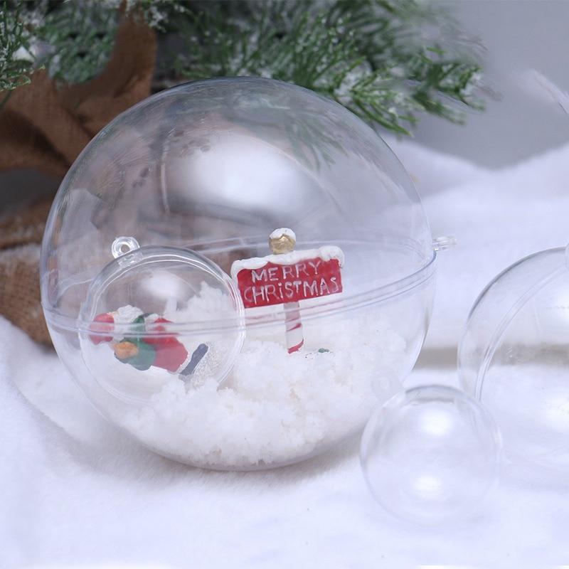 Adornos de bola de Navidad transparentes de 10 piezas adornos de plástico rellenos decoración de fiesta de boda DIY para el hogar - 2