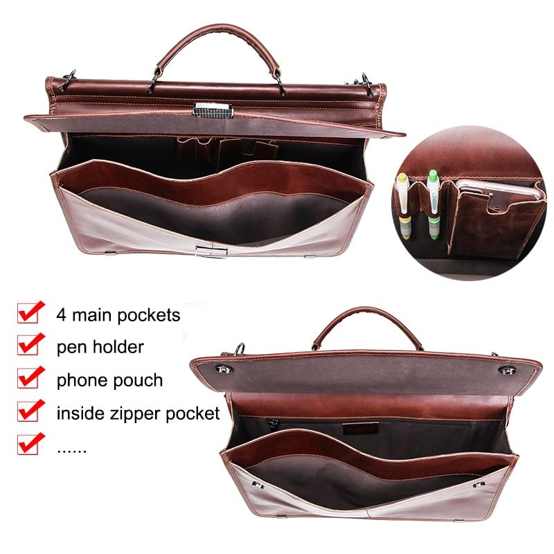 "Image 5 - CONTACTS Casual Men Laptop Bag for 15.6"" Business Men Briefcase Genuine Leather Messenger Shoulder Bags Male Tote Bag BolsasBriefcases   -"