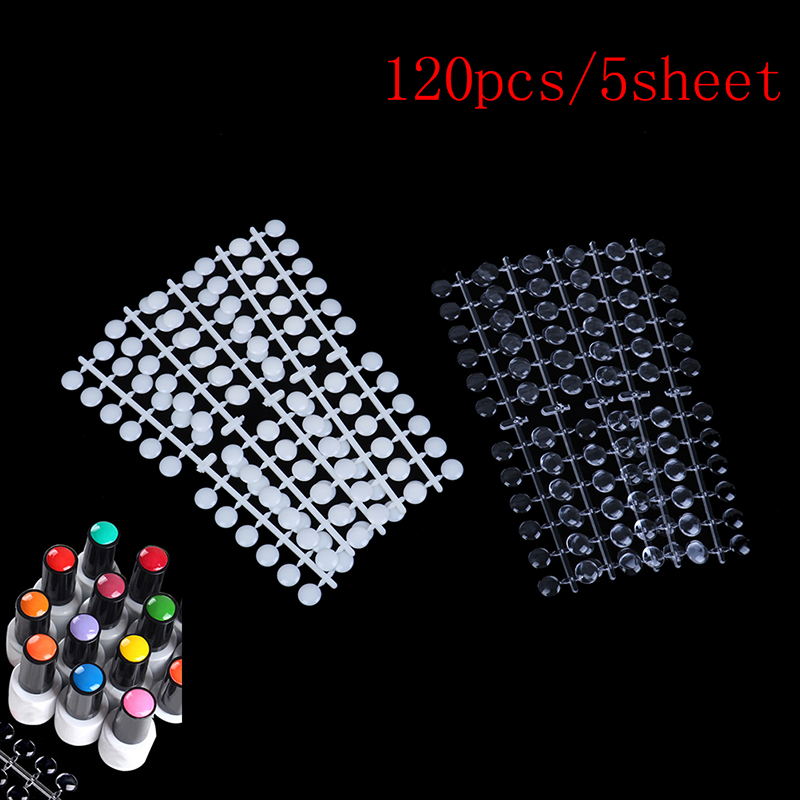 120 Tips Natural Round Nail Tips With Sticker Color Chart Flat Back UV/Gel/Polish For Display Color Card Chart Nails Art Tools