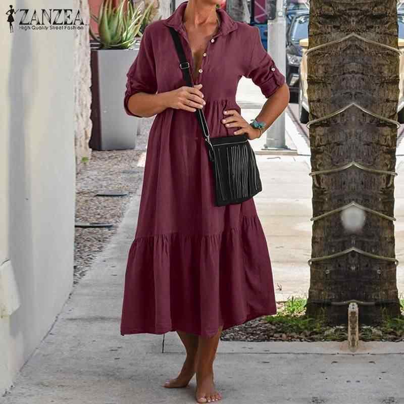 ZANZEA Women Lapel Neck 코튼 린넨 셔츠 드레스 가을 긴 소매 캐주얼 솔리드 워크 OL Sundress Robe Femme 5XL Vestido Ladies