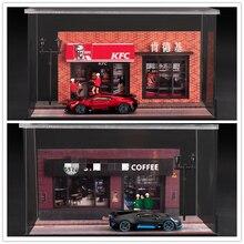 MoreArt 1:64 KFC Coffe Shop Christmas lighting assembly diorama figures TimeMicro Bburago Bugatti Divo Diecast Model Car