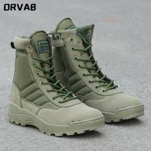 Plus rozmiar 36 46 nowy Us skórzany wojskowy buty wojskowe dla mężczyzn armia zielony bojowy Bot piechota buty taktyczne buty wojskowe buty wojskowe tanie tanio ORVAB Desert Boots CN (pochodzenie) Prawdziwej skóry Skóra bydlęca Połowy łydki Stałe Cotton Fabric Mikrofibra Okrągły nosek