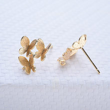 Boucles d'oreilles papillon en laiton plaqué or, 12x14MM 24K, haute qualité, bijoux à bricoler soi-même découvertes, 6 pièces