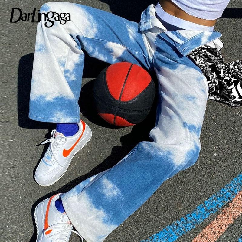 Darlingaga Streetwear Tie Dye Print Straight High Waist Pants Women Fashion Pockets Trousers Harajuku Women's Pants Bottom Capri