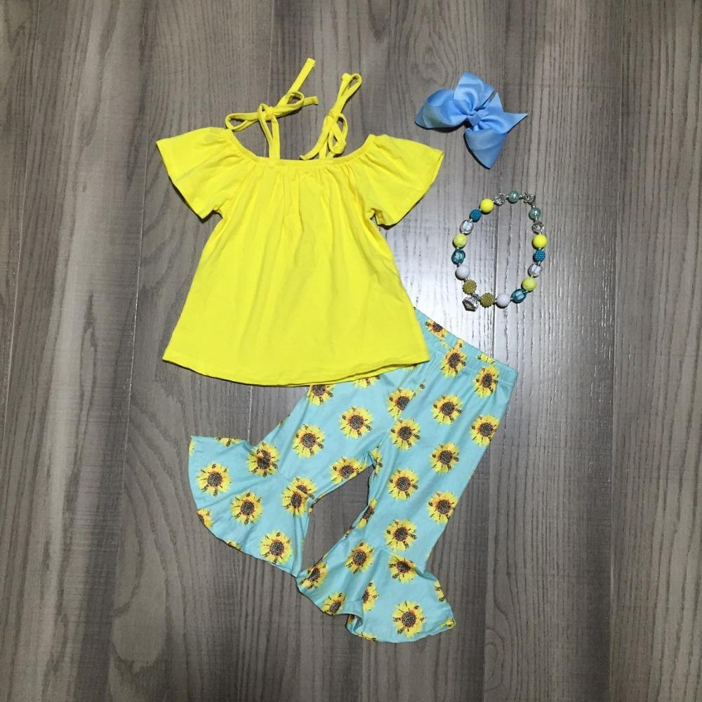 Baby Girls Spring Capri Outfits Girls Yellow Top With Sunflower Capri Pant Girls Summer Outfit With Accessories