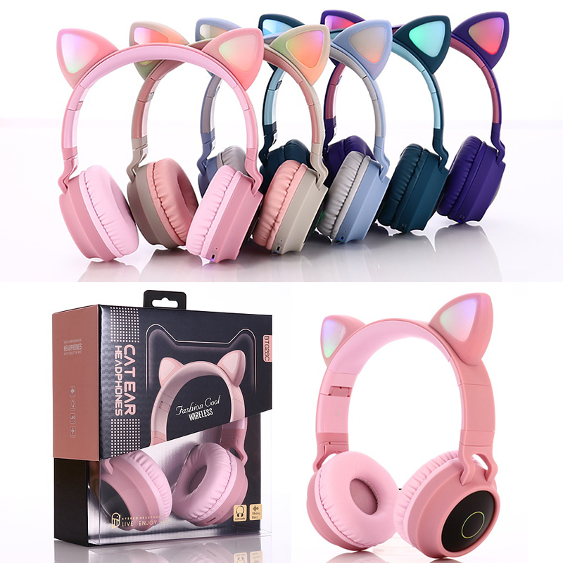 Led Light Cute Cat Ear Headphones Bluetooth 5 0 Stereo Foldable Wireless Headset With Mic Support Tf Card Fm Radio 3 5mm Plug Bluetooth Earphones Headphones Aliexpress