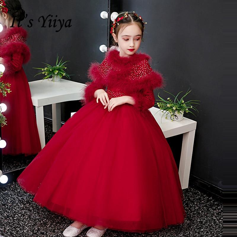 Red Flower Girl Dresses for Weddings It's Yiiya B026 Fake Shawl Princess Dresses Elegant Long Sleeves Thick Kids Ball Gowns