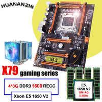 Famosa marca HUANANZHI deluxe X79 placa base con ranura m2 CPU Intel xion E5 1650 V2 con enfriador de RAM 32G (4*8G) 1600 regg ECC