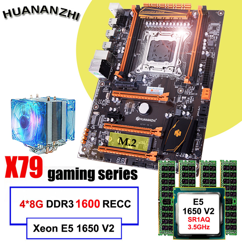 Famous brand HUANANZHI deluxe X79 motherboard with M.2 slot CPU Intel Xeon E5 1650 V2 with cooler RAM 32G(4*8G) 1600 REG ECC-in Motherboards from Computer & Office