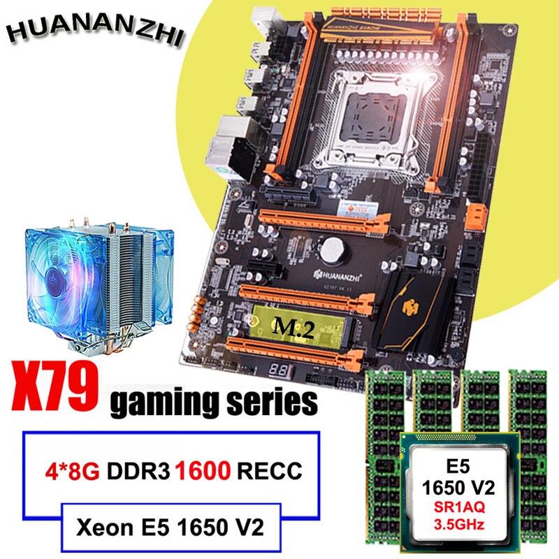 Marca famosa huananzhi deluxe x79 placa-mãe com slot m.2 cpu intel xeon e5 1650 v2 com refrigerador ram 32g (4*8g) 1600 reg ecc
