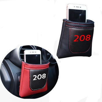 Car Styling For Peugeot 208 Clip on Air Outlet Car Air Vent Stow Tidy Storage Pu Leather Bag Coin Bag Case Car Phone Holder image