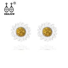 DREJEW Cute Small White Yellow CrystalSun Flower Statement Earrings 2019 Korean 925 Resin Stud for Women Wedding HE3711