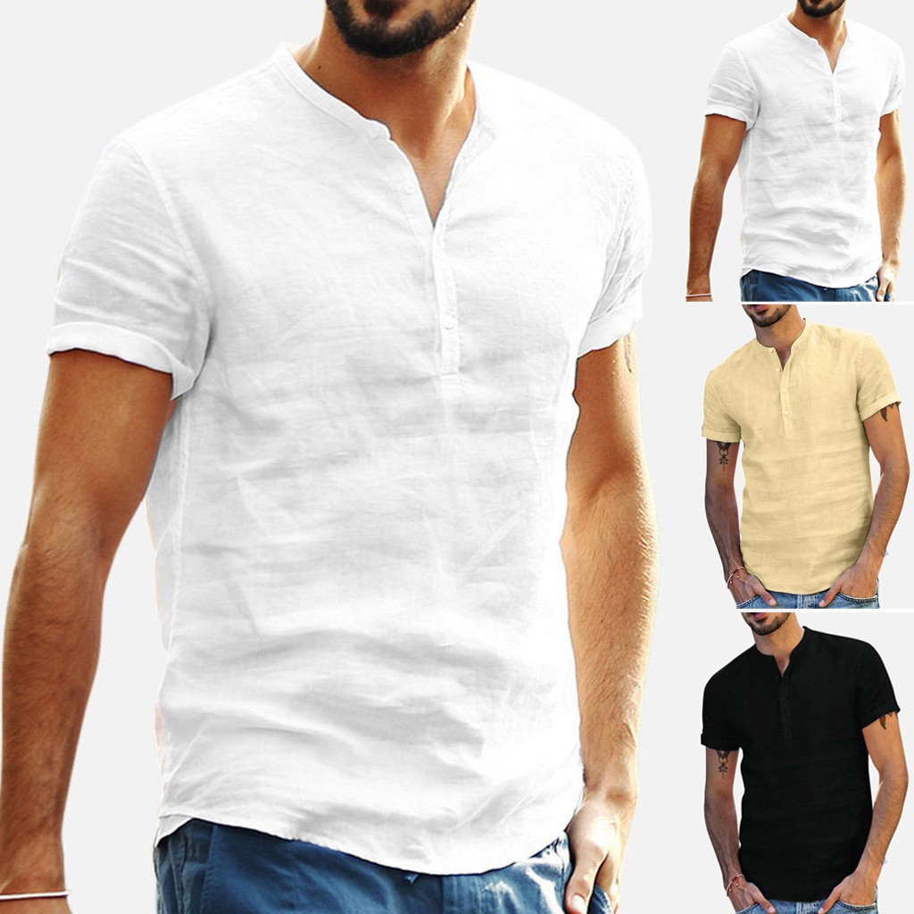 Men's Short Sleeve Blouse New Cotton Linen Solid Color Loose Pullover V-Neck Tee Shirt Fashion Casual Breathable Comfy Tops#Y