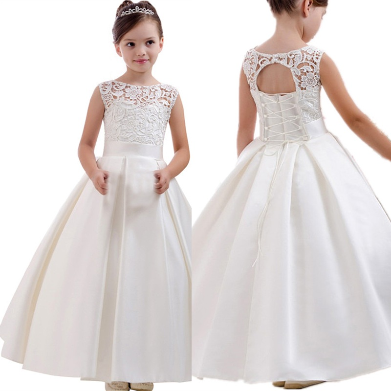 Elegant Flower Girls Dresses For Jewel Pearls Bow A Line First Communion Dress Stain Floor Length Kids Formal Wear Birthday Gown
