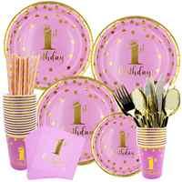 Taoup 1er 1 año decoraciones para fiesta de cumpleaños niños Baby Shower niños niñas papel Feliz cumpleaños suministros de vajilla desechables para fiesta