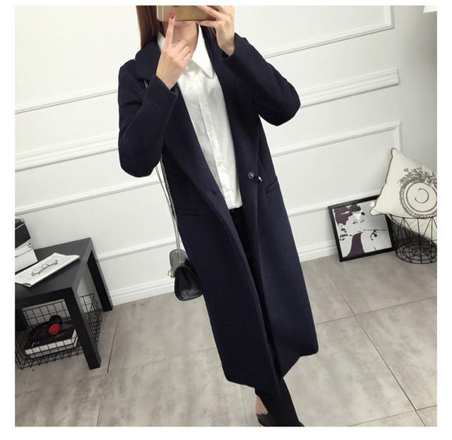 Autumn Winter Wool Coat Women 2019 Casual Plus Size Long Sleeve Thick Jackets Female Elegant Suit Collar Warm Long Wool Blends