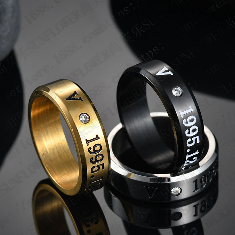 1pcs Kpop Bangtan Boys Rings Three Colors Member Name Ring Black Gold Silver High Gloss Rings K-pop Bangtan Boys Stationery Set