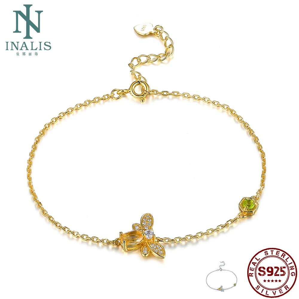INALIS Cute Bee 925 Sterling Silver Bracelet Woman 5A Clear Cubic Zircon Gold Color Bracelet Wedding Fine Jewelry New Arrival