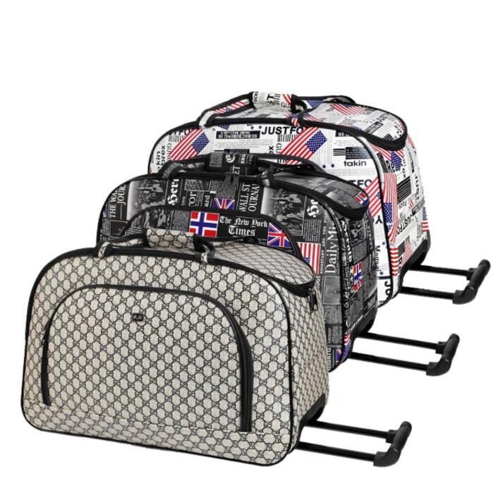 Women Travel Luggage Trolley Bag Women Cabin Rolling Bags With Wheels  Wheeled Bag Woman Travel Baggage Snakeskin Travel Handbag