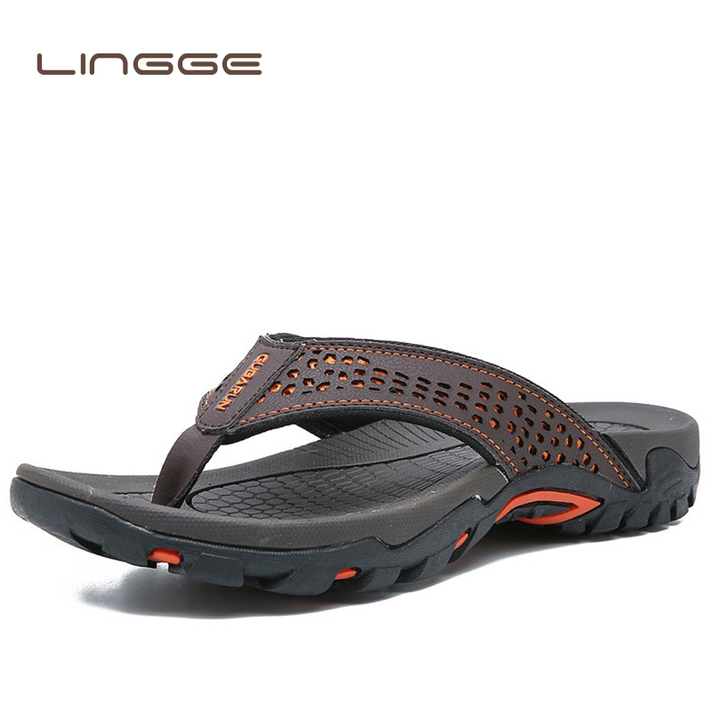 LINGGE Summer Sandals Male Beach Shoes Leather Sandals Dual Use Leisure Flip Flop Men Beach Sandals Man Fashion Casual Slipper