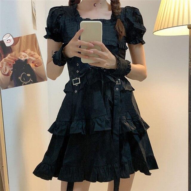 Women's Gothic Lolita Dress Goth Punk Gothic Harajuku Mall Goth Style Bandage Black Dress Emo Clothes Dress Spring 2021 2