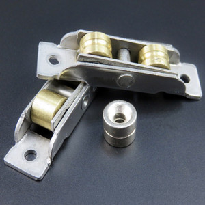 Image 5 - 2pcs/set Sliding doors and Window Rollers stainless steel copper double wheel pulley sliding door fittings wheels